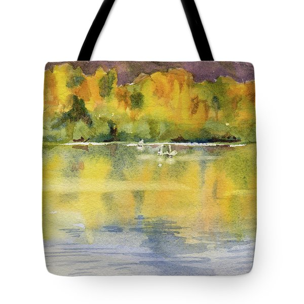 Tote Bag featuring the painting Swan Lake by Kris Parins