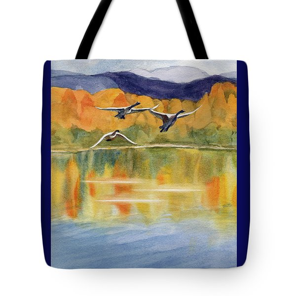 Tote Bag featuring the painting Swan Lake Revisited by Kris Parins