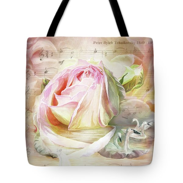 Swan Lake Rose Tote Bag