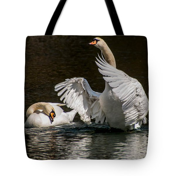 Tote Bag featuring the photograph Swan Mating Dance by Cathy Donohoue