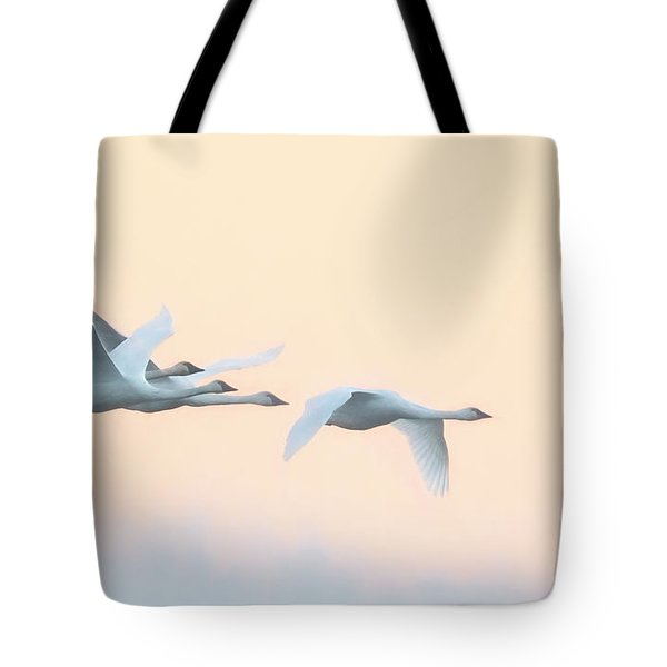 Swan Migration  Tote Bag by Kelly Marquardt