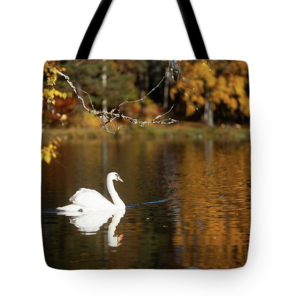 Swan On A Lake Tote Bag by Teemu Tretjakov