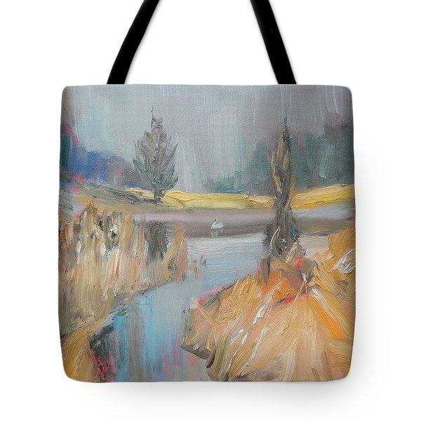 Swan On The Lake Tote Bag by Ron Wilson