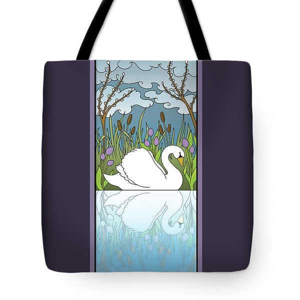 Swan On The River Tote Bag by Eleanor Hofer