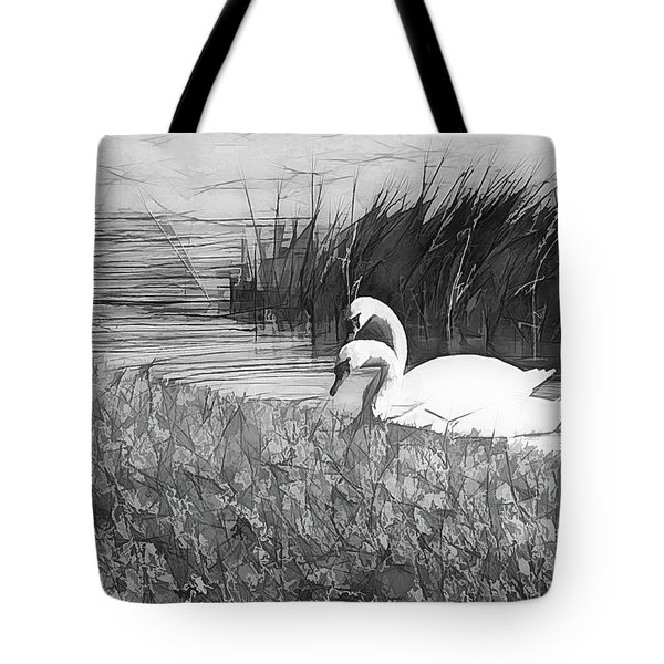 Swan Pair Bw Abstract Tote Bag