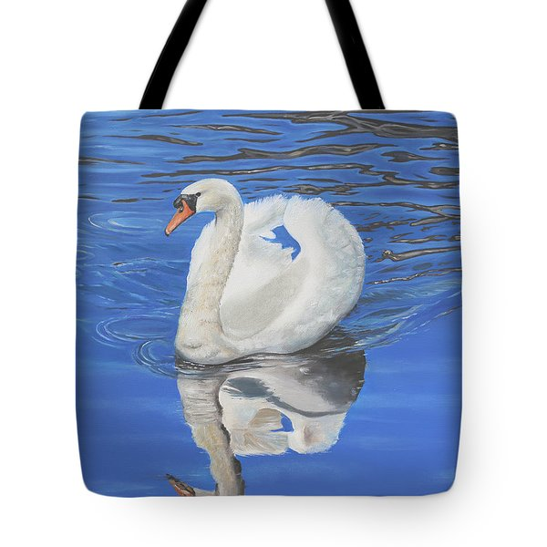 Tote Bag featuring the painting Swan Reflection by Elizabeth Lock