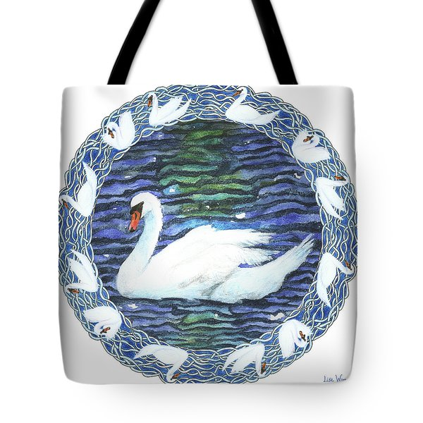 Swan With Knotted Border Tote Bag