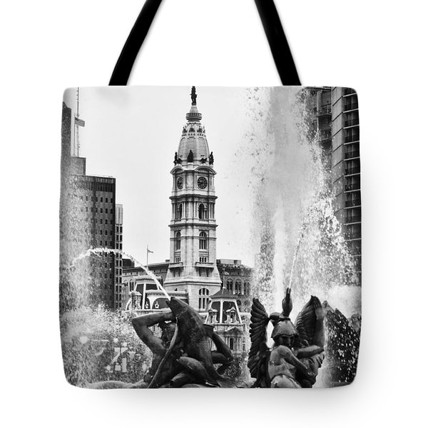 Swann Memorial Fountain In Black And White Tote Bag by Bill Cannon