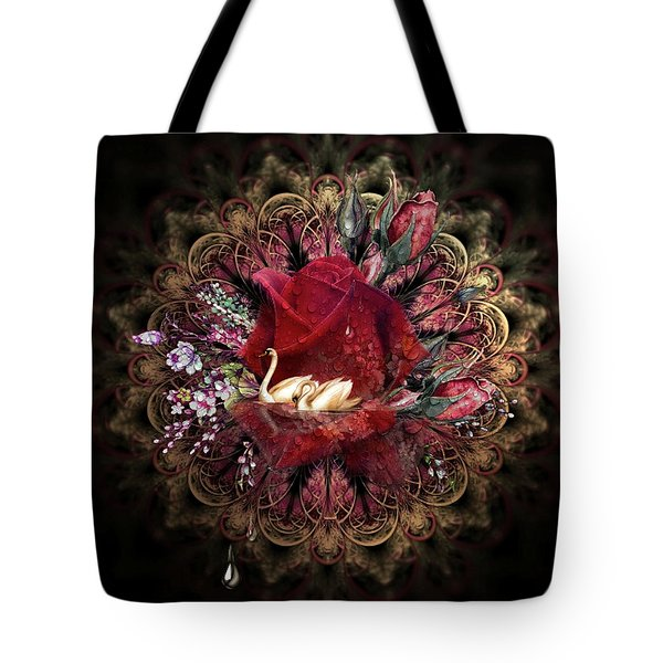 Swans And Floral 02 Tote Bag