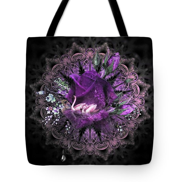 Swans And Floral Tote Bag