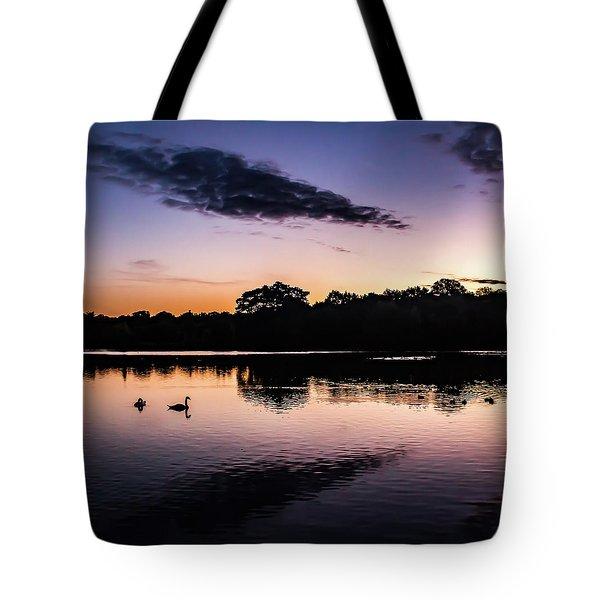 Swans At Sunrise Tote Bag