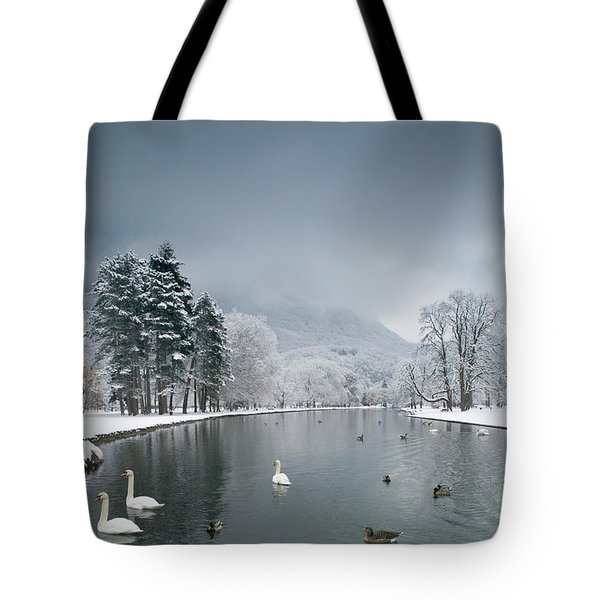 Swans Floating On A Lake, Chateau De Tote Bag