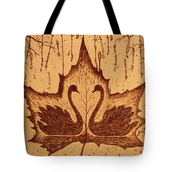 Tote Bag featuring the painting Swans  In Love Original Coffee Painting by Georgeta Blanaru