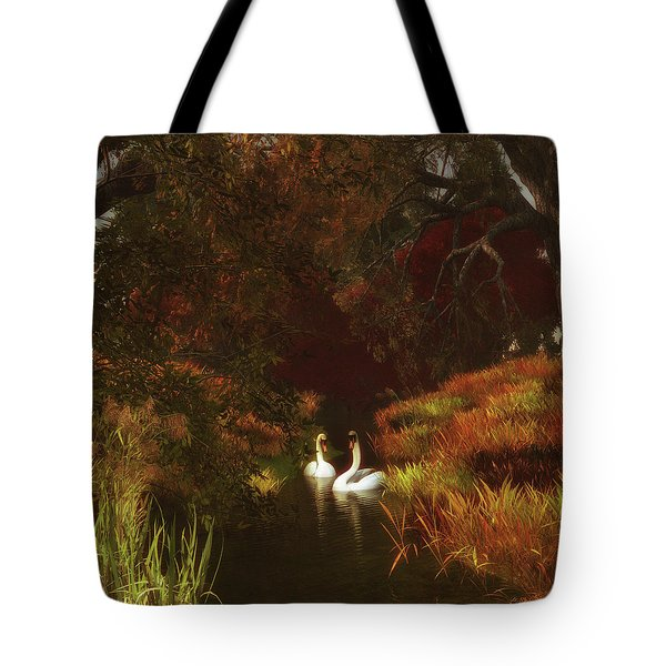 Swans In The Forest Tote Bag