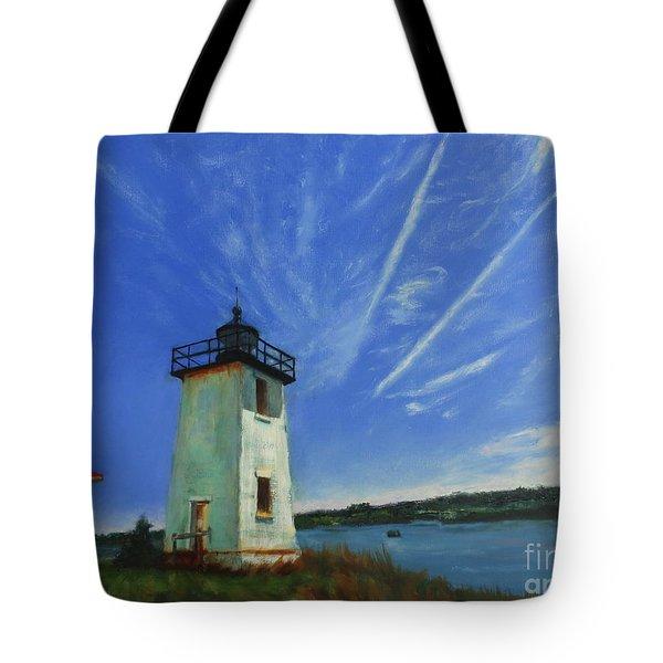 Swans Island Lighthouse Tote Bag