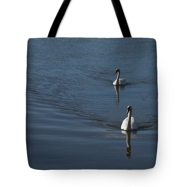 Swans On Blue Tote Bag