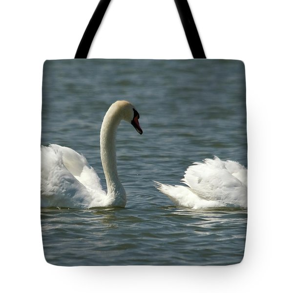 Swans On Lake  Tote Bag