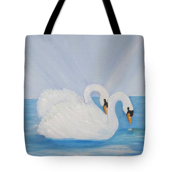 Swans On Open Water Tote Bag