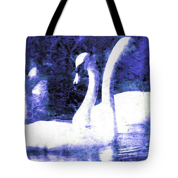 Tote Bag featuring the digital art Swans On Water  by Fine Art By Andrew David