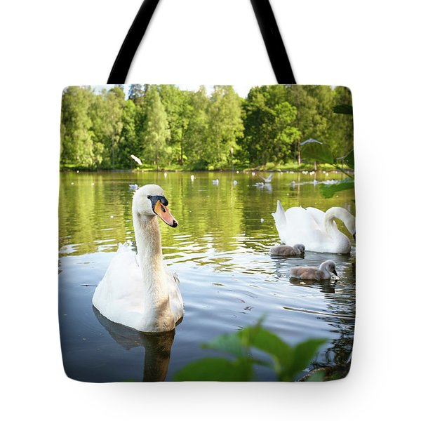 Swans With Chicks Tote Bag