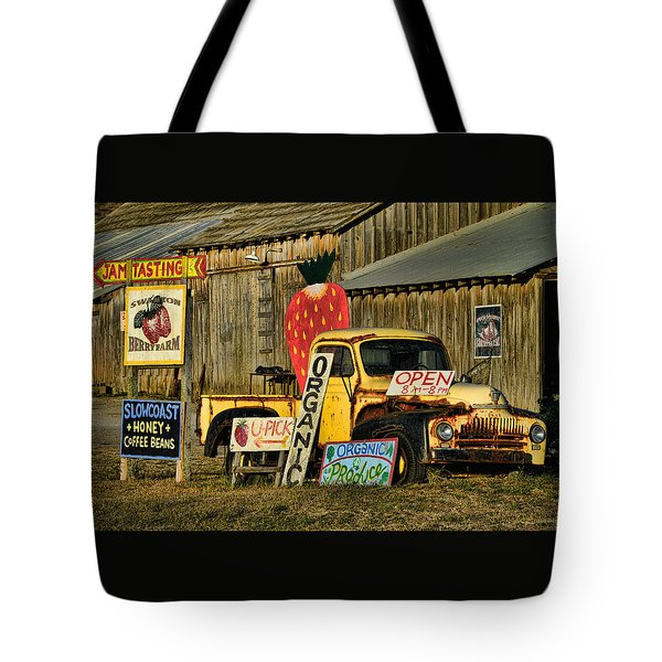 Tote Bag featuring the photograph Swanton Berry Farm / International Pickup by Steve Siri