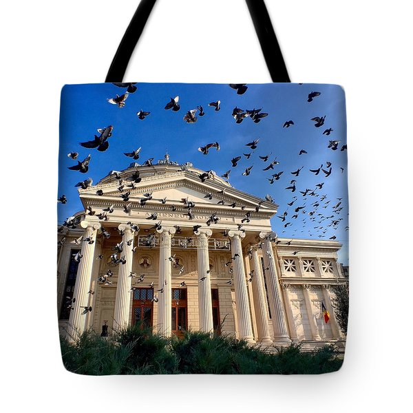 Tote Bag featuring the photograph Pigeon Swarm At The Ateneul Roman In Bucharest, Romania by Chris Feichtner