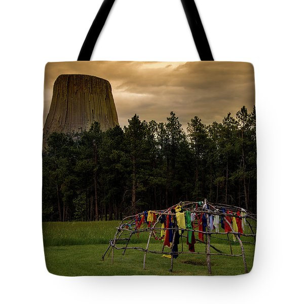 Tote Bag featuring the photograph Sweat Lodge At Devil's Tower by Gary Lengyel