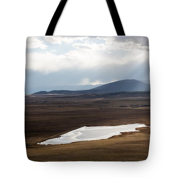 Sweeping Plain And A Small Lake Between Mountain Foothills Near Fairplay In Park County Tote Bag by Carol M Highsmith