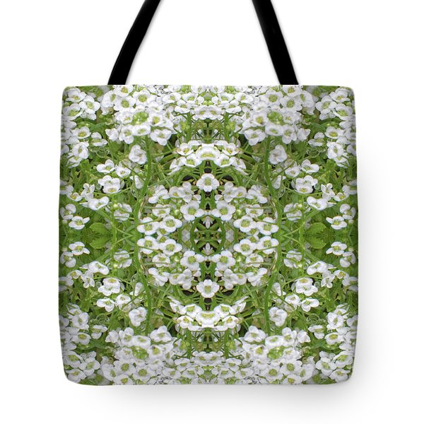 Tote Bag featuring the digital art Sweet Alyssum Abstract by Linda Phelps