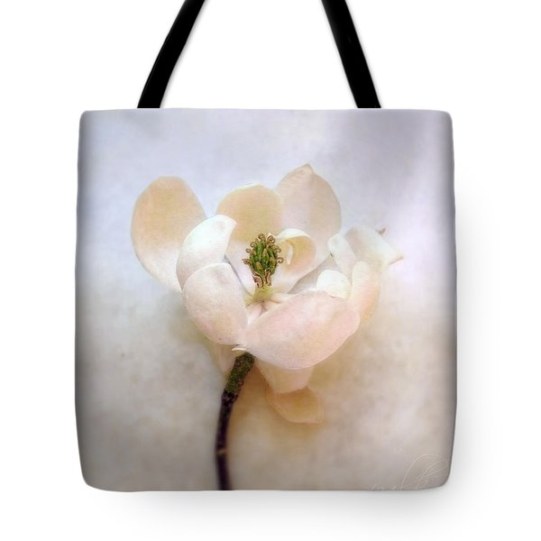 Sweet Bay Magnolia Bloom Tote Bag by Louise Kumpf