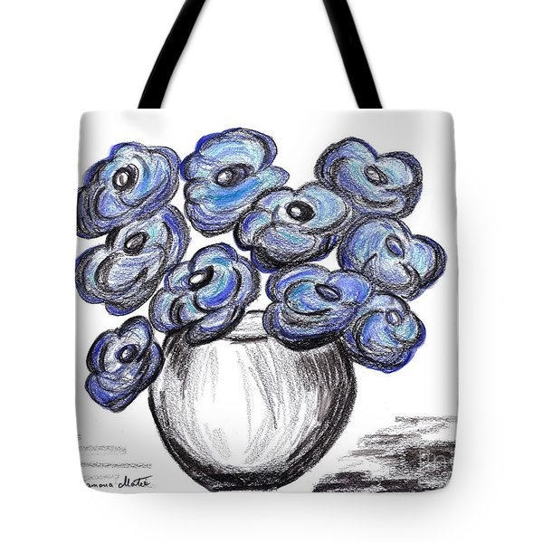 Sweet Blue Poppies Tote Bag