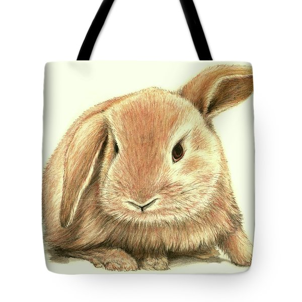 Tote Bag featuring the drawing Sweet Bunny by Heidi Kriel