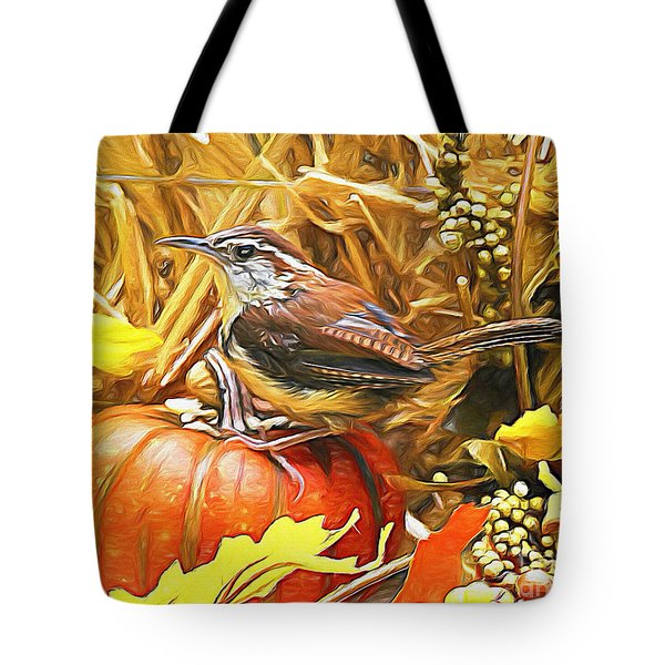 Sweet Carolina Wren Tote Bag by Tina  LeCour