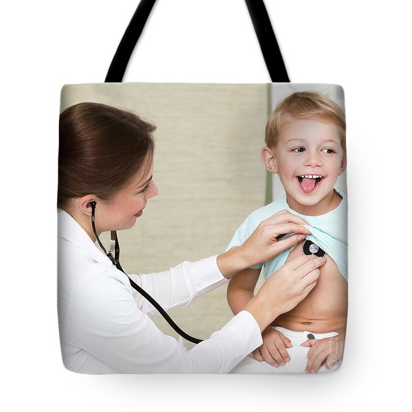 Sweet Child Visiting Doctor Tote Bag