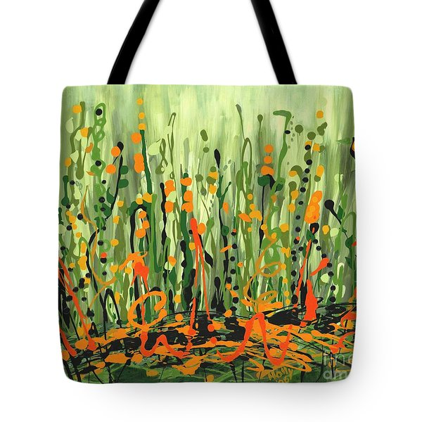 Tote Bag featuring the painting Sweet Jammin' Peas by Holly Carmichael