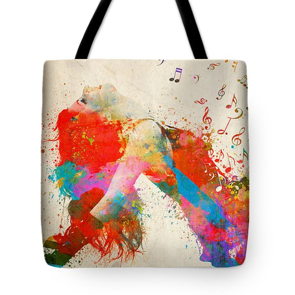 Tote Bag featuring the digital art Sweet Jenny Bursting With Music Cropped by Nikki Marie Smith
