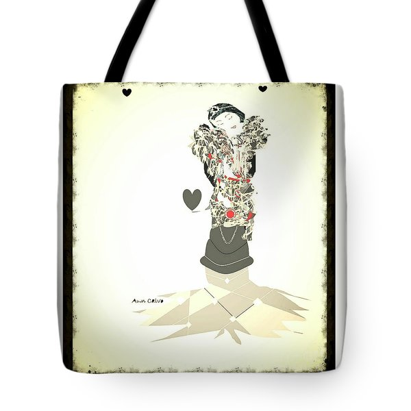 Tote Bag featuring the mixed media Sweet Lady 8 by Ann Calvo