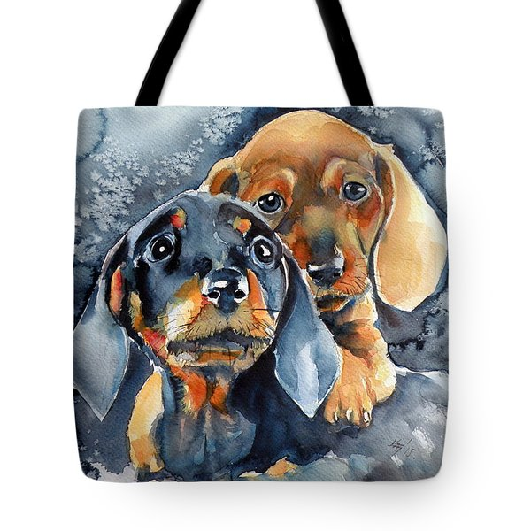 Sweet Little Dogs Tote Bag by Kovacs Anna Brigitta