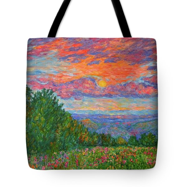 Sweet Pea Morning On The Blue Ridge Tote Bag by Kendall Kessler