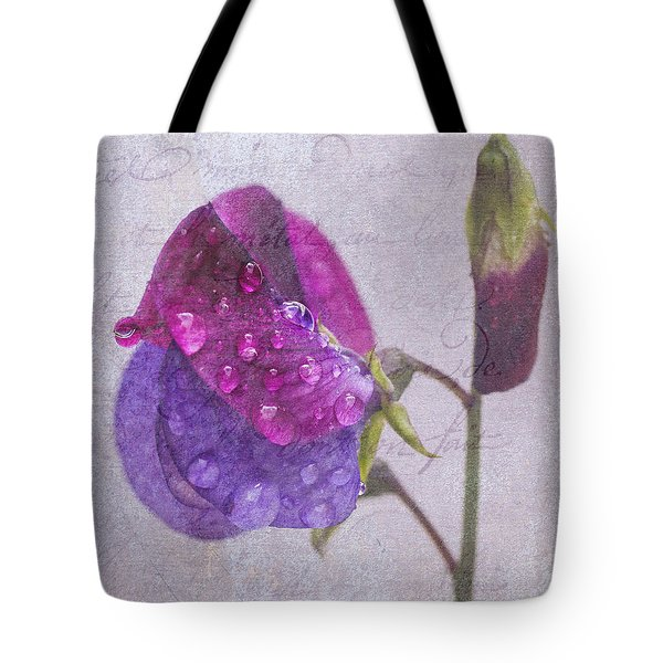 Sweet Pea Raindrops Tote Bag