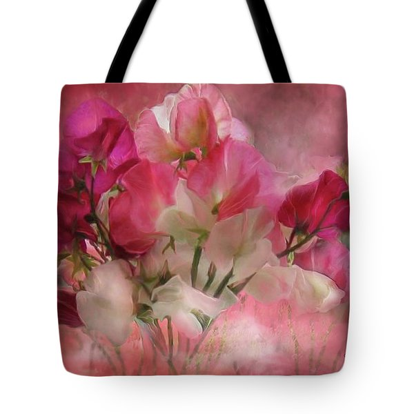 Tote Bag featuring the mixed media Sweet Peas by Carol Cavalaris