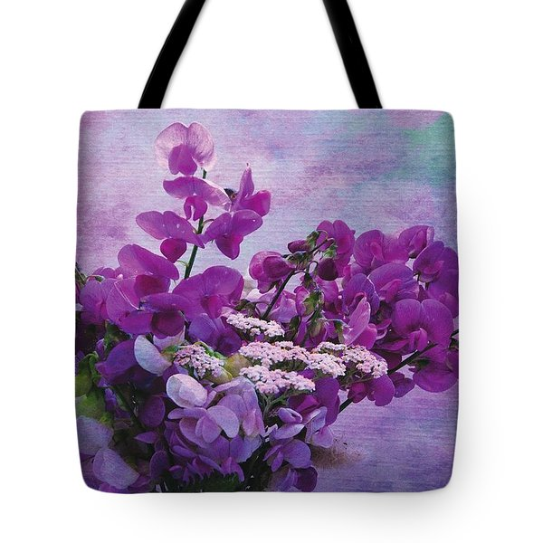 Tote Bag featuring the photograph Sweet Purple Bouquet by Karo Evans