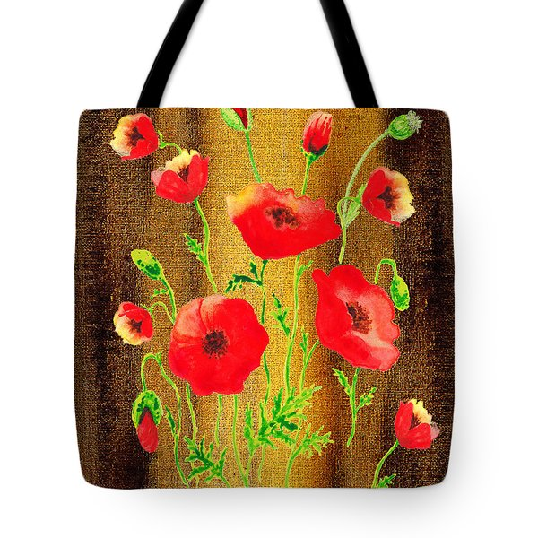 Sweet Red Poppies Collage Tote Bag