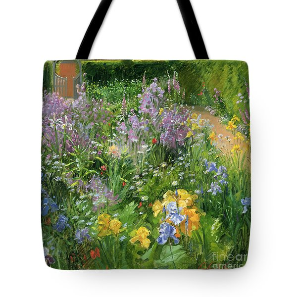 Sweet Rocket - Foxgloves And Irises Tote Bag by Timothy Easton