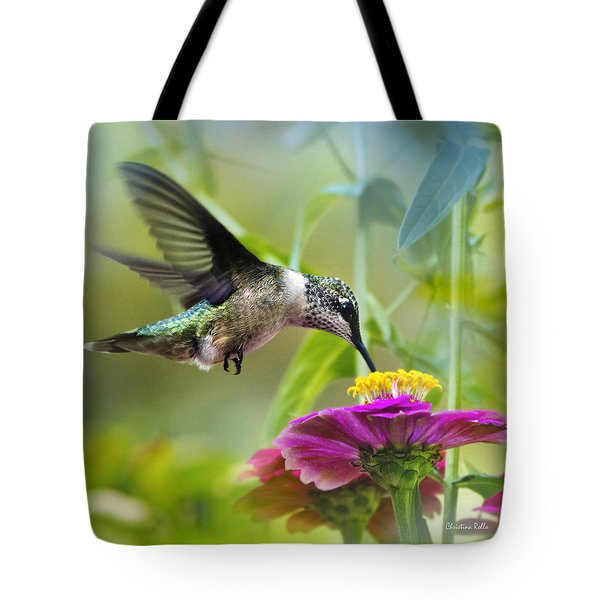 Sweet Success Hummingbird Square Tote Bag by Christina Rollo