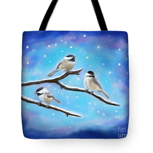 Tote Bag featuring the painting Sweetest Winter Birdies by Leslie Allen