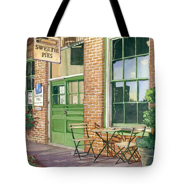 Tote Bag featuring the painting Sweetie Pies Bakery by Gail Chandler