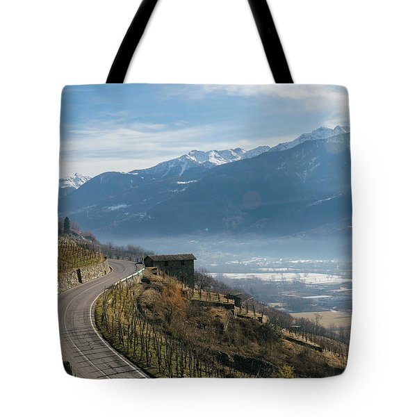 Swerving Road In Valtellina, Italy Tote Bag