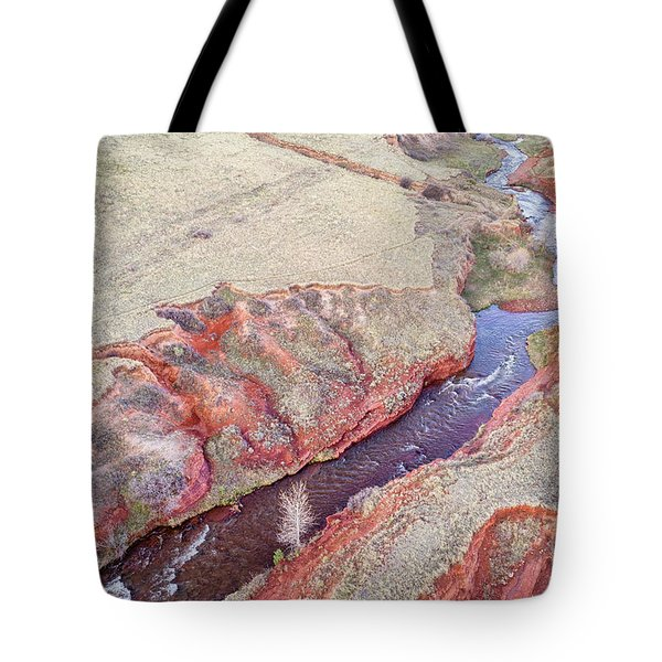 swift creek at  Colorado foothills - aerial view Tote Bag