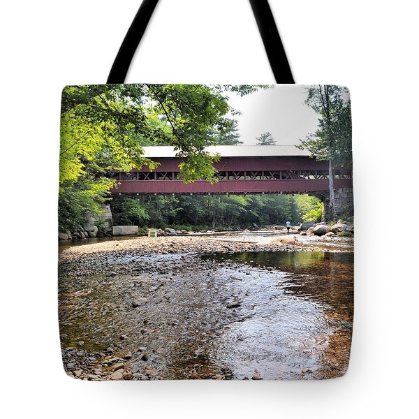 Swift River And Covered Bridge Tote Bag